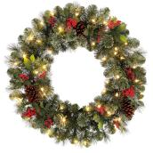 Holiday Living Battery Powered Christmas Wreath Clayton - 50 Warm White LED Lights - 30-in
