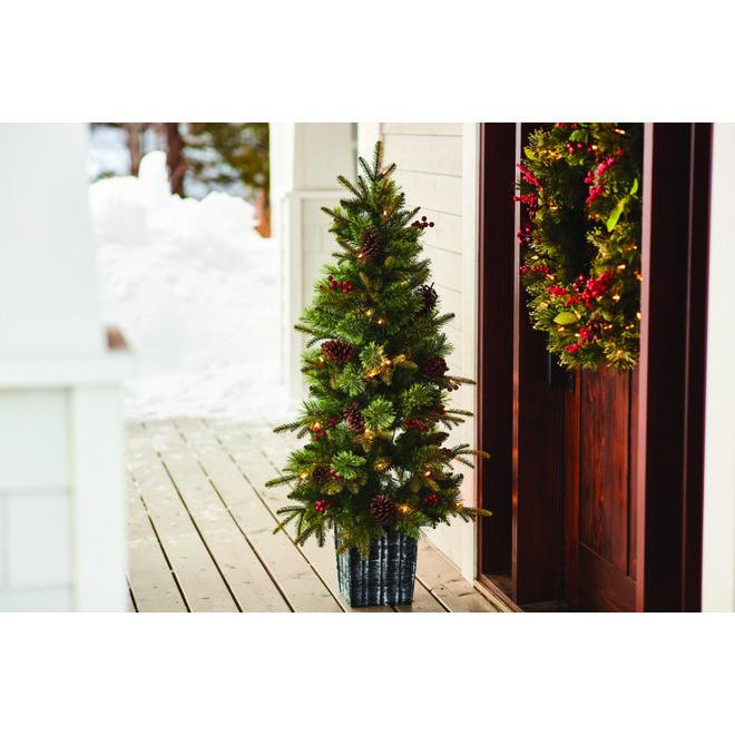 Couronne de Noël alimentée par piles Clayton de Holiday Living, 50 lumières DEL blanc chaud, 30 po