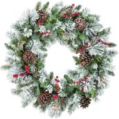 Holiday Living 30-in Unlit Indoor Flocked with Berry Artificial Christmas Wreath