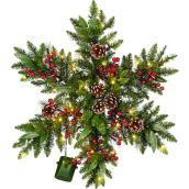 Couronne de Noël artificielle en étoile pré-éclairée Holiday Living de 32 po à piles, extérieur, vert