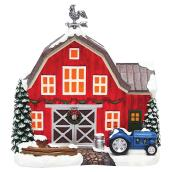 "Lighted Red Barn for Christmas Village - 8.7"" x 5.7"""