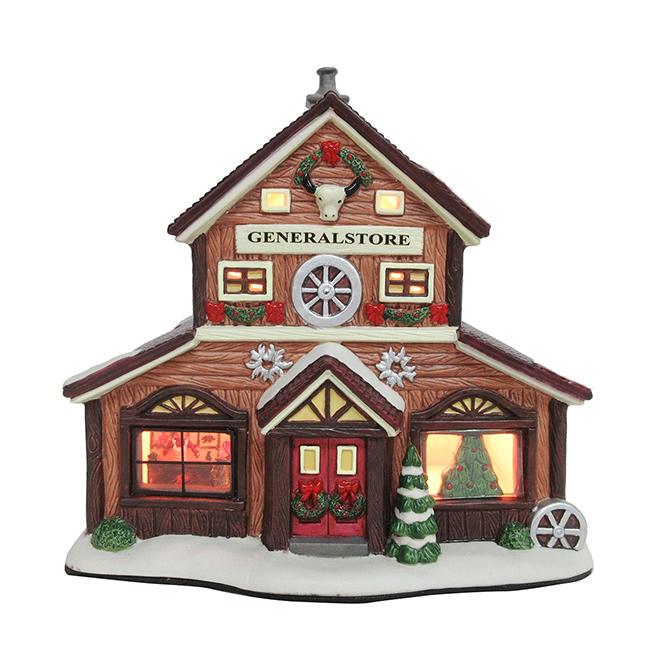 Magasin général en céramique pour village de Noël