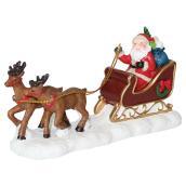 Père Noël avec traîneau pour village de Noël, polyrésine