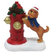 Dog with Fire Hydrant for Christmas Village - Polyresin