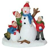 Children with Snowman for Christmas Village - Polyresin