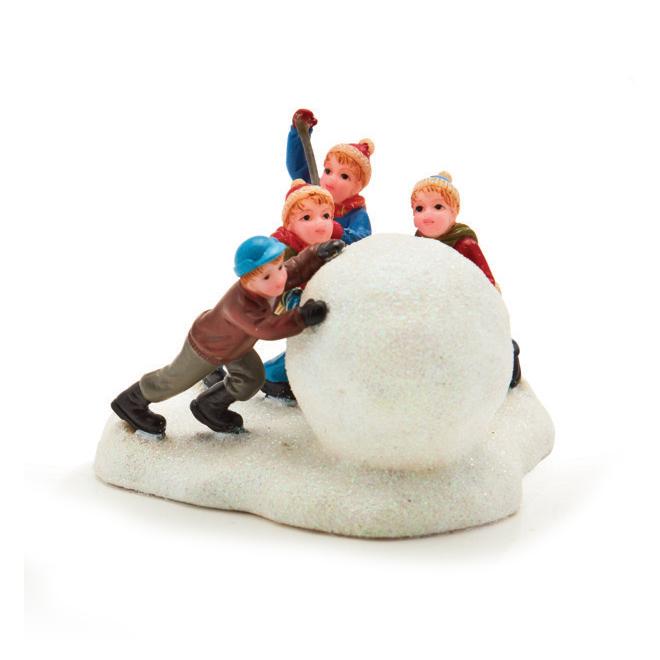 Boule de neige avec figurines pour village de Noël, polyrésine NM