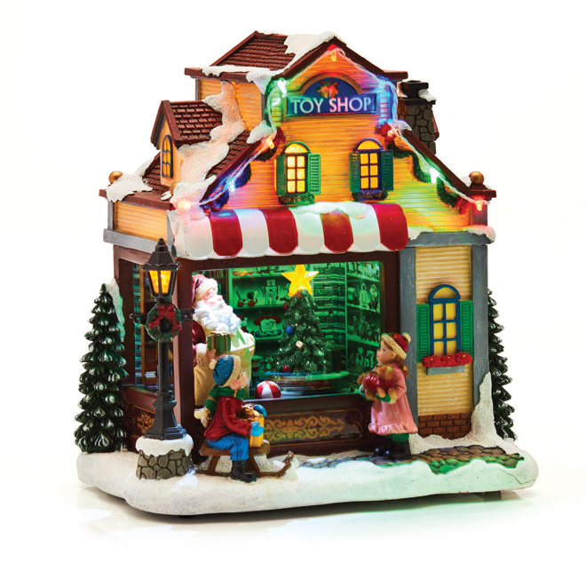 Christmas Village.Carol Towne Animated Toy Shop For Christmas Village
