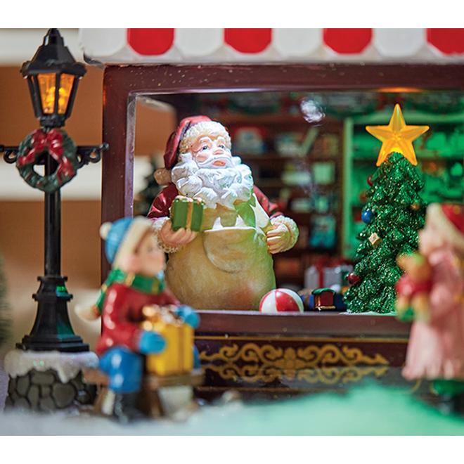 Magasin de jouets animé pour village de Noël, polyrésine