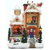 Christmas House with Sleigh - Polyresin