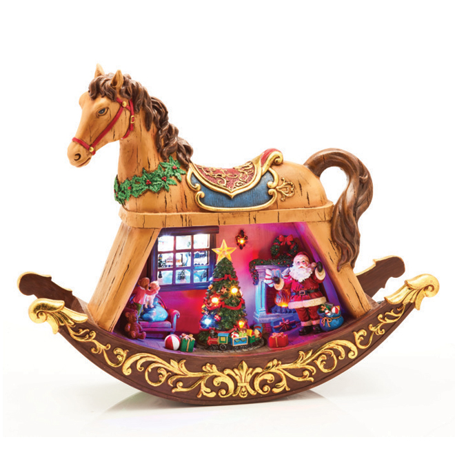Rocking Horse with Santa Claus - Polyresin