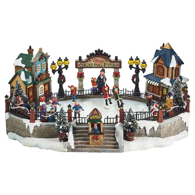 Animated village Skating Rink - Polyresin