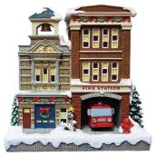 Station de pompier pour village de Noël, polyrésine, DEL