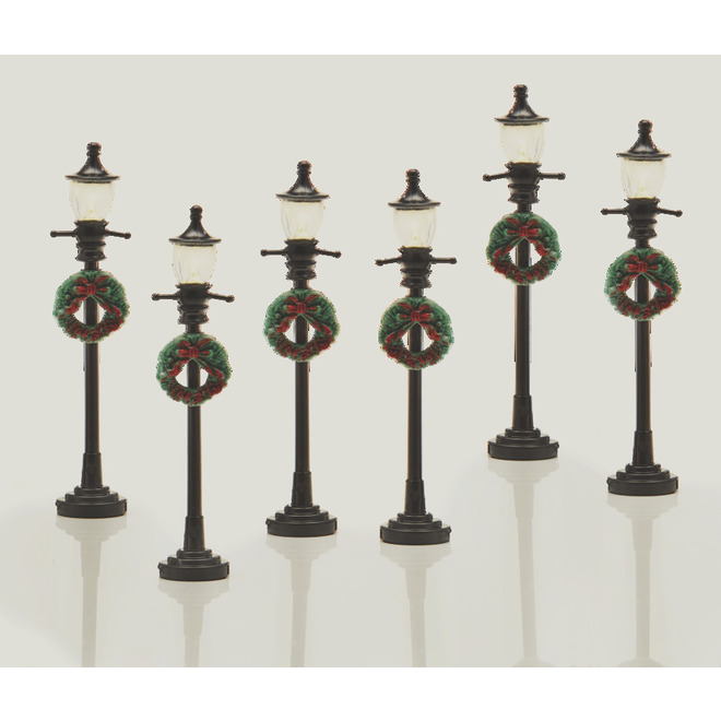 Street Lamp Posts for Christmas Village - LED - Black - 6/Pack