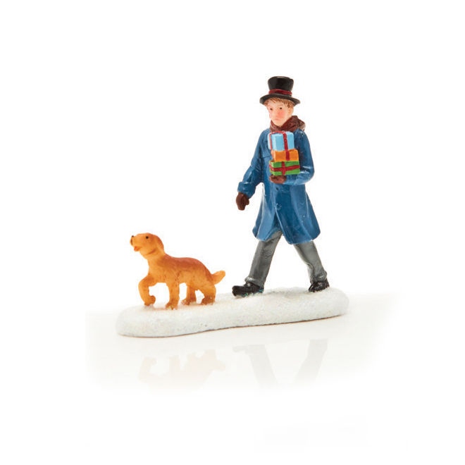 """Figurine de village, homme avec chien, polyrésine, 2,8"""""""