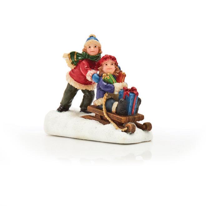 "Village Figurine - Sleeding Kids - Polyresin - 2.2"""