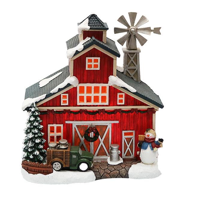 Barn House for Christmas Village - Polyresin - LED - Red