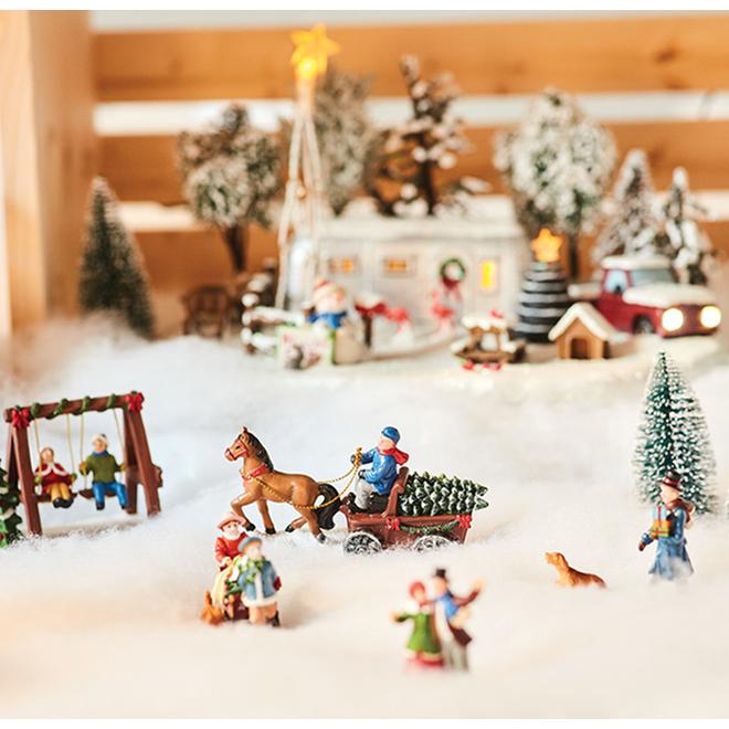 """Figurine de village, chariot et arbre, 2,8"""", couleurs multiples"""