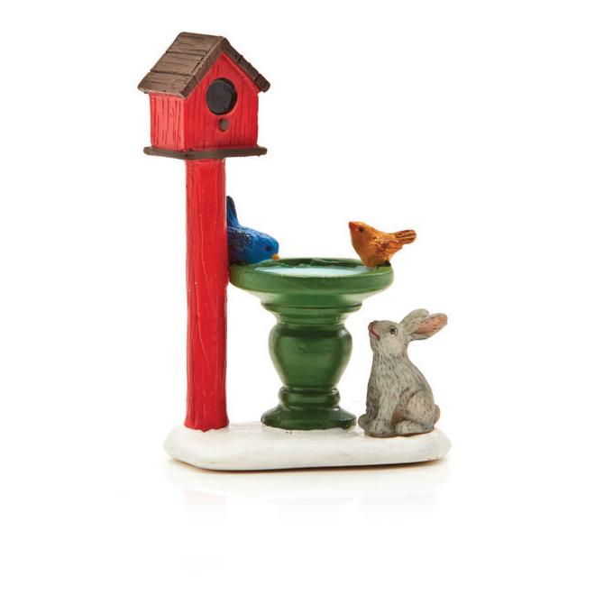 "Village Figurine - Bird Bath and House - 3.3"""