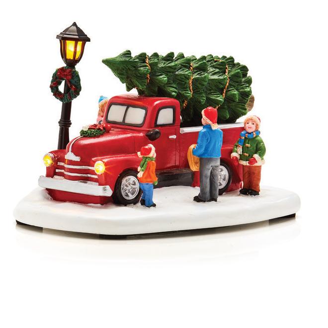 "Village Figurine - LED Lighted Truck - Polyresin - 4.3"""