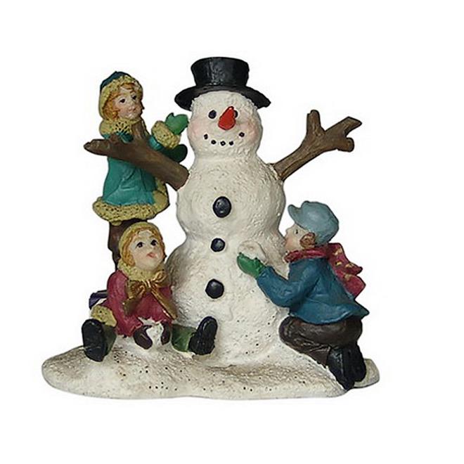 Enfants et bonhomme de neige pour village, polyrésine, 2,4 po x 2,4 po x 1,5 po, multicolore
