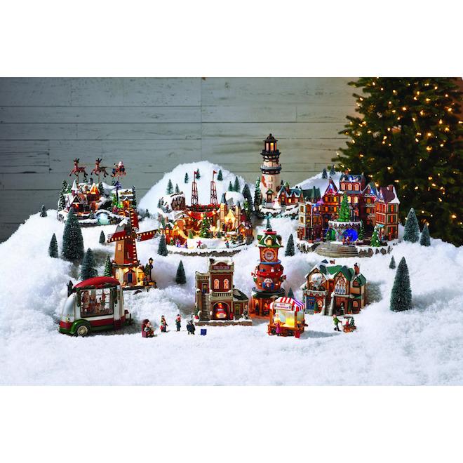 Enfants avec balançoire pour village de Noël, polyrésine, 4,2 po x 2,1 po x 3 po