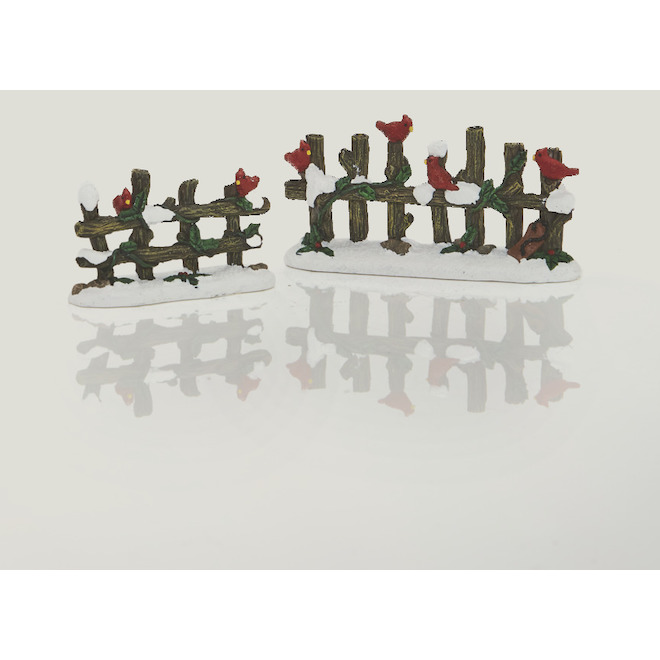 Set of 2 Fences for Christmas Village - Polyresin - 2 Pieces