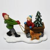 Sisters with Dog for Christmas Village - Resin - 2.8-in x 2.6-in - Multicolour