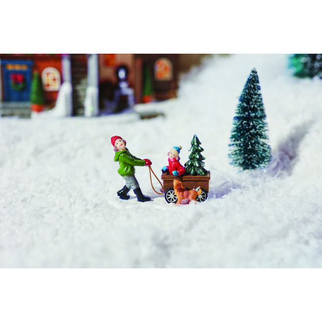 Sisters with Dog for Christmas Village - Resin - 2.6-in - Multicolour
