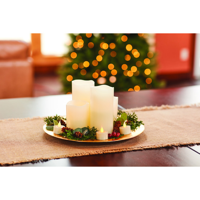 Natures MarkFlameless LED Candles with Remote Control - Cream - 8 Pack