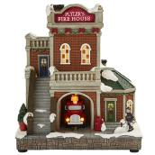 LED Fire Station - Polyresin - 8.2-in x 5.8-in x 9.4-in - Multi