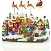 Village animé Carole Towne avec traîneau du Père Noël