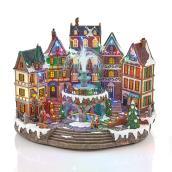 Scène de village animée Carole Towne illuminée et musicale
