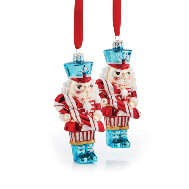Holiday Living Christmas Ornament - Glass Nutcrackers - 2/Pack