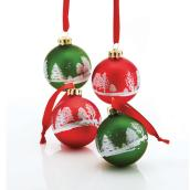 "Tree Ornaments - 2.6"" x 3.2"" - Glass - Red/Green - 4-Pack"