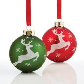 "Tree Ornaments- Reindeers - 3.1""- Glass - Red/Green - 2-Pack"