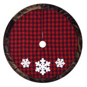 "Plaid Tree Skirt with Snowflakes - 48"" - Acrylic - Red"