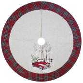 "Plaid Border Tree Skirt - 48"" - Acrylic - Multicolour"