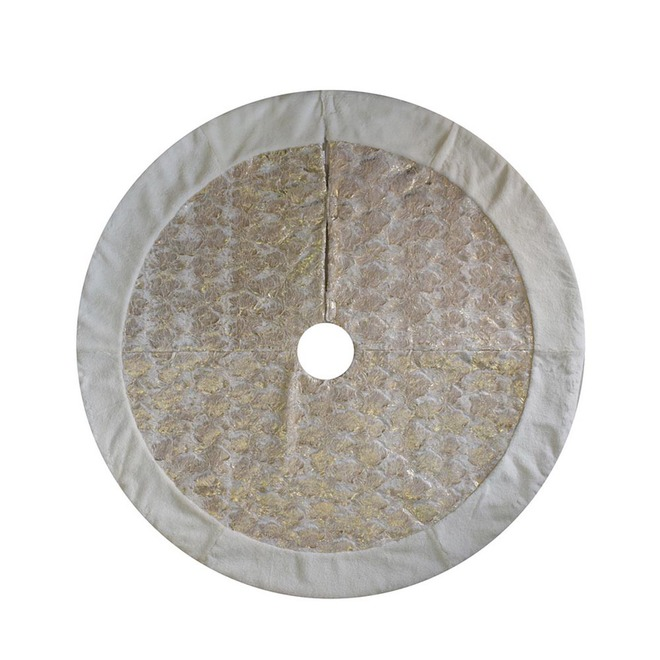 Holiday Living Velvet Christmas Tree Skirt - Fan Motif - 48-in - Gold and White