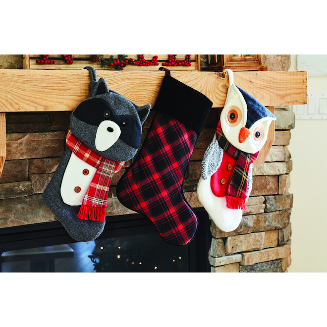 Holiday Living Christmas Stocking - Polyester - 21-in - Black and Red