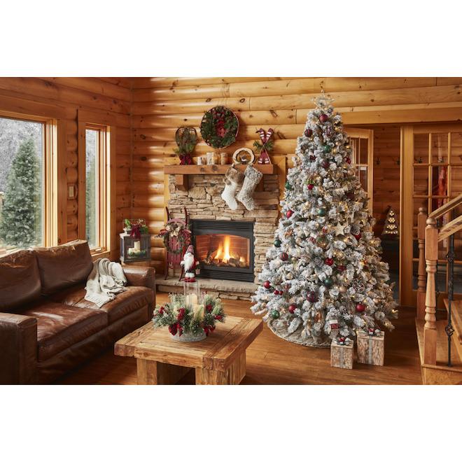 Holiday Living Velvet Xmas Stocking - Polyester/Acrylic - 21-in - Red/White