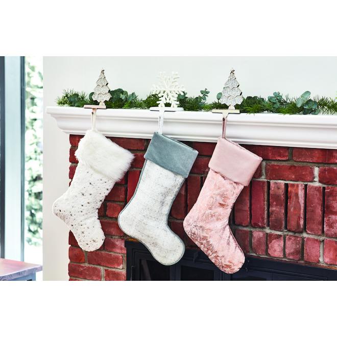 Bas de Noël Holiday Living, polyester/acrylique, 21 po Argent/blanc