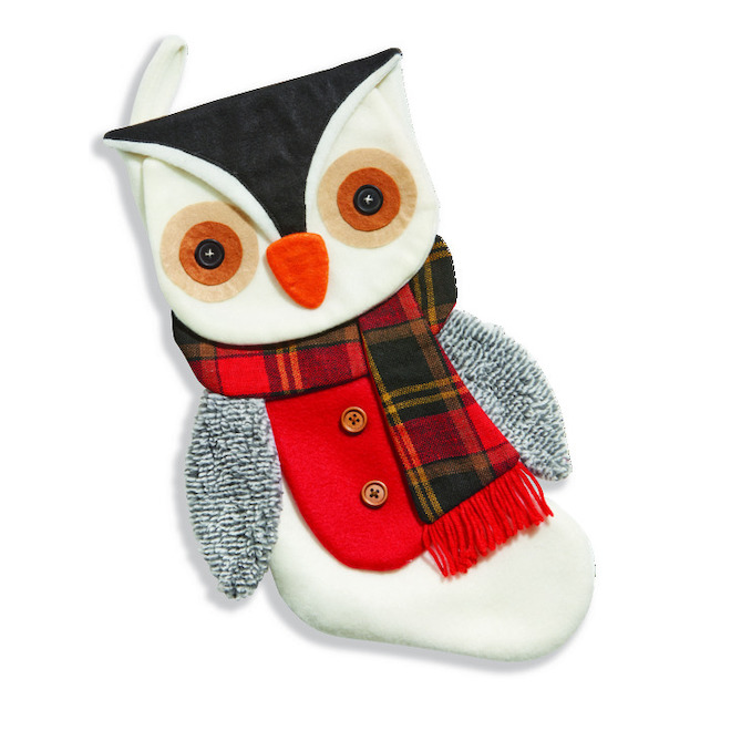 Holiday Living Owl Christmas Stocking - Polyester and Acrylic - 20-in - White - Grey