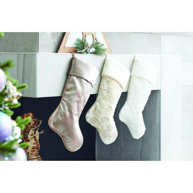 Holiday Living Circular Xmas Stocking - Polyester - 21-in - White