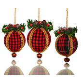 Christmas Ball Ornaments - Plaid Print - 8 cm - Pack of 3