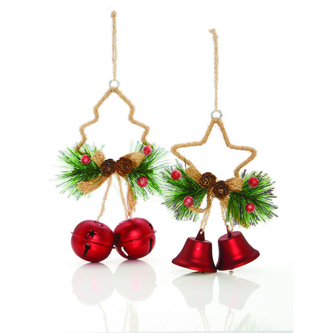 """Christmas Ornaments - Star/Tree - 7"""" - Silver/Red"""