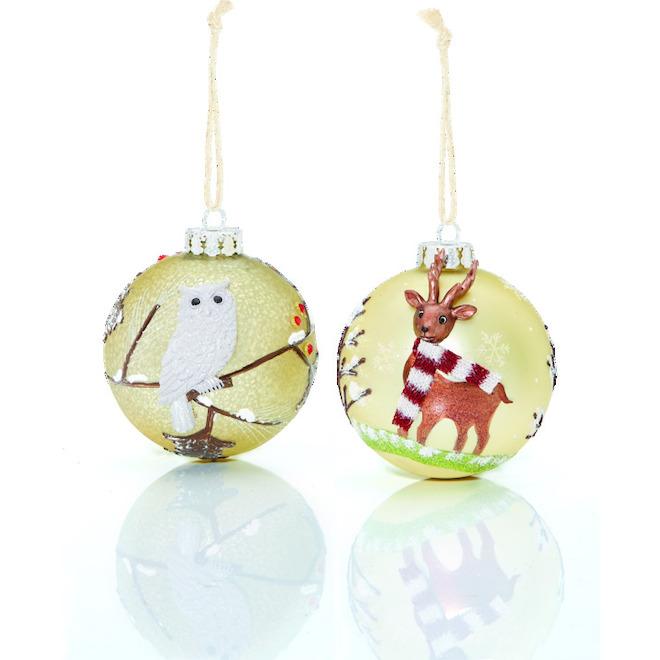 Tree Ornaments - Deer/Owl - 10 cm - Glass - 2-Pack