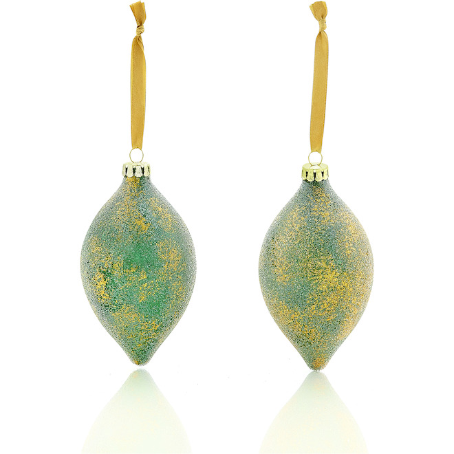 Holiday Living 2-Pack Green and Gold Glass Finial Ornament Set