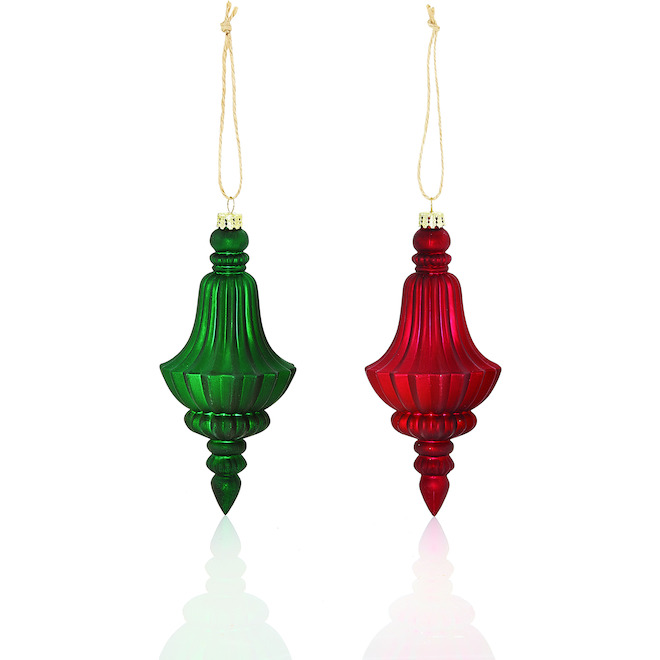 Holiday Living 2-Pack Red and Green Glass Finial Ornament Set