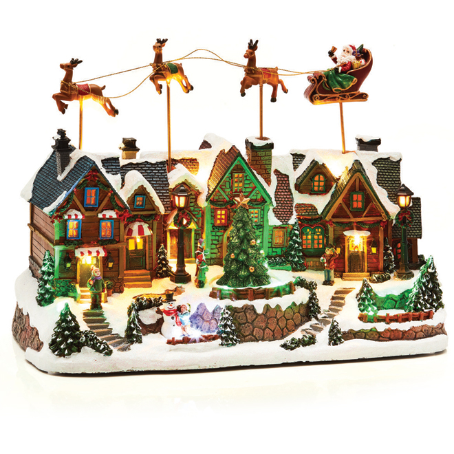 Flying Santa Sleigh with Village