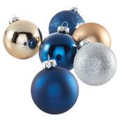 Boules de Noël, bleu et argent, paquet de 28